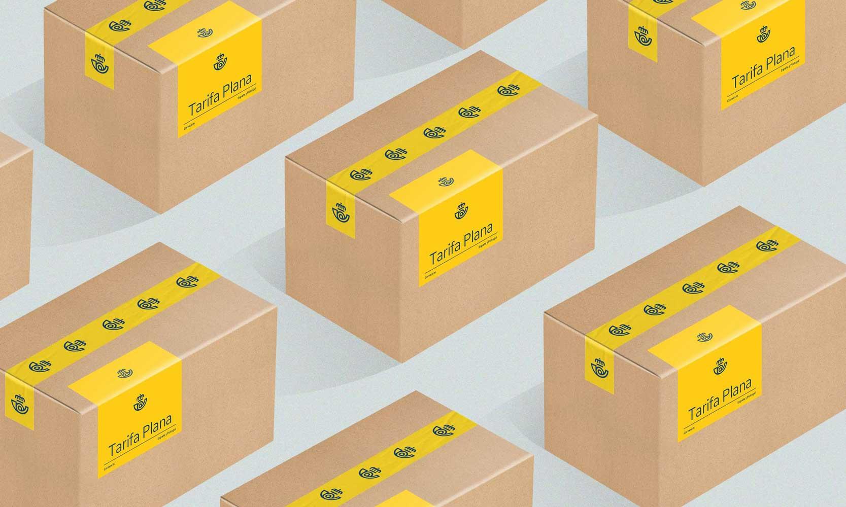 La etiqueta de Correos en cajas
