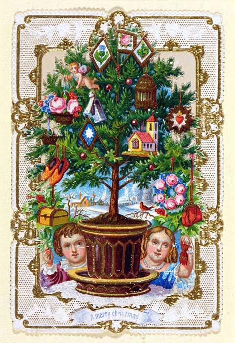 Postales de Navidad de la época victoriana, árbol de Navidad con adornos