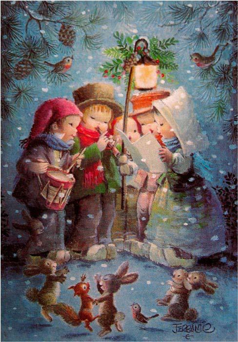Postales de Navidad de Ferrandiz, niños con animalitos