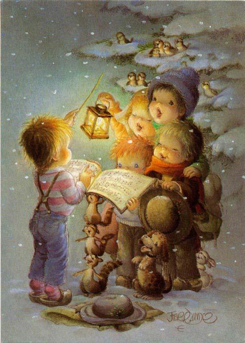 Postales de Navidad de Ferrandiz, coro de niños con lámpara