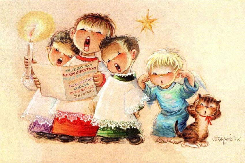Postales de Navidad de Ferrandiz, coro de niños