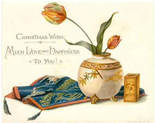 Postales de Navidad de Louis Prang, bodegón