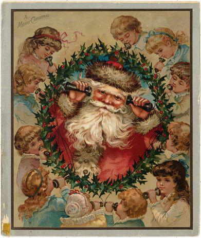 Postales de Navidad de Louis Prang, Santa Claus con teléfono