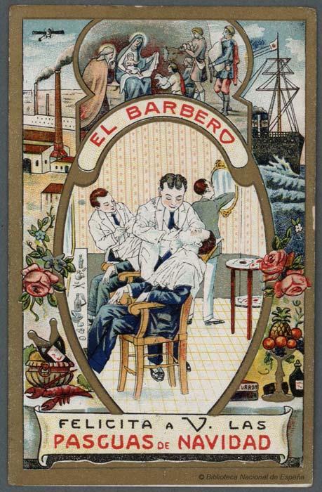 Postales de Navidad, las postales de los oficios, el barbero