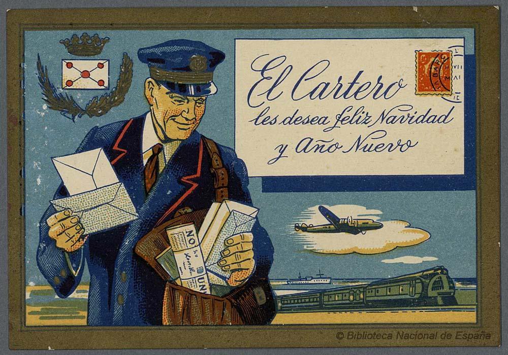 Postales de Navidad, las postales de los oficios, el cartero