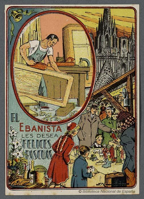 Postales de Navidad, las postales de los oficios, el ebanista