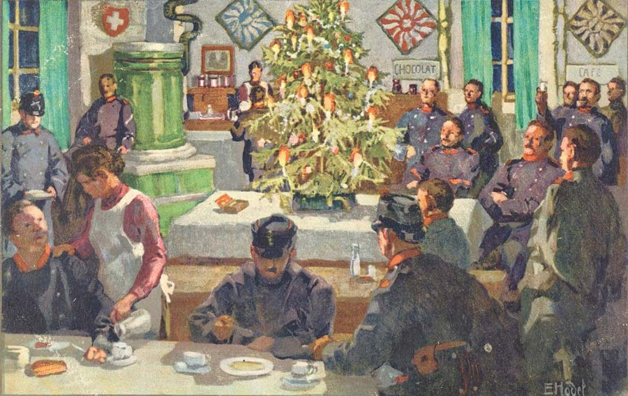 Postales de Navidad, I Guerra Mundial, soldados cenando