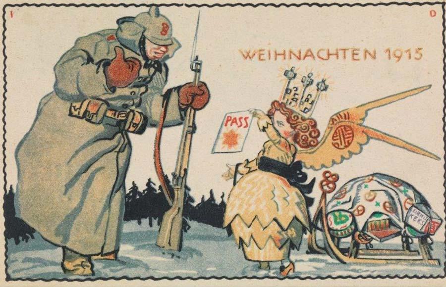 Postales de Navidad, I Guerra Mundial, soldado y ángel