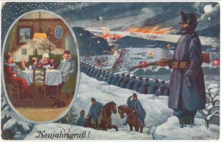 Postales de Navidad, I Guerra Mundial, soldado en el frente