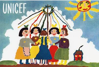 postales de Navidad, primera postal de Unicef