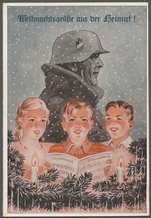 Postales de Navidad, II Guerra Mundial, soldado y niños