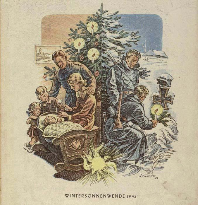 Postales de Navidad, II Guerra Mundial, familia y soldados